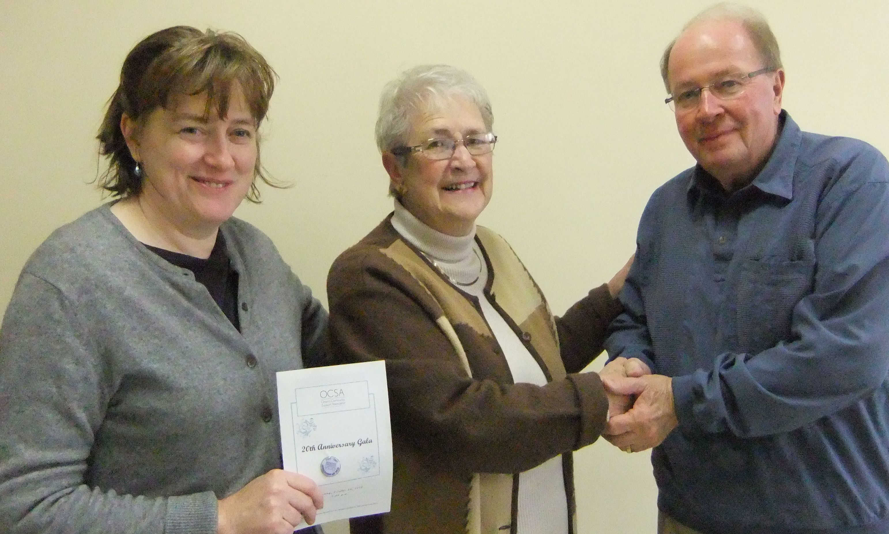 Lorna MacDonald with Maureen Finnegan and President John A. Jackson